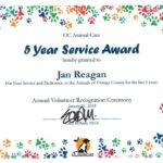 Oc animal care 5 year service award